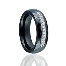 Jewelco London Sterling Silver CZ Black Ceramic Eternity Style Fashion Ring