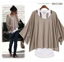 hot Casual 2 pcs women cotton short Sleeve loose T-shirt Vest tops shirt