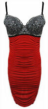 BNWT Red Black Diamond Cocktail Evening Party Wiggle Pencil Dress S/M - M/L