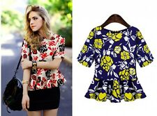 Womens Floral chiffon Bodycon short Sleeve Classic Peplum Blouse Tops T-shirt