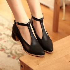 Elegant Women Chunky Heels Pointy Toe Ankle T-strappy OL Ladies workers Shoes Sz