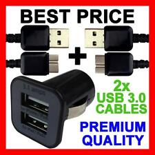 Dual USB Car Charger + 2 USB 3.0 Sync Cables for Samsung Galaxy Note 3 III 4G