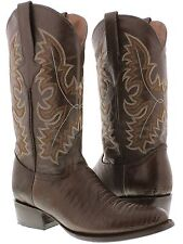 Men's brown lizard leather cowboy boots exotic rodeo dance round toe western new