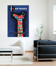Stretched Canvas Art 3 Large Sizes French Vintage Poster AIR FRANCE Savignac's
