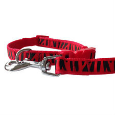 Red Tiger Stripe Dog Collar and Matching Lead Set - Puppy and Dog
