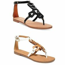 Womens Nine West Saddie Flat Shoes Gladiator Tstrap Leather Sandals