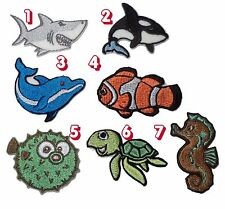 Marine fish,shark,whale,turtle Embroidered Sew On/Iron On/Sticker patch set of 2