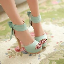 Elegant Womens Ankle Strap Flower Decor Sandal Platform Pump High Heel Shoes Sz
