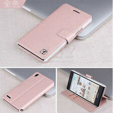 4colors Folio Wallet Flip Leather Case Cove + LCD Film for Huawei Ascend P6 d