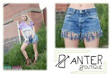 Vintage LEVIS 501 FESTIVAL beaded frayed shorts rework urban blogger