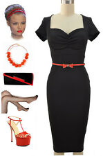 BLACK 50s Style BOMBSHELL PINUP WIGGLE Dress w/Gathered Bust & RED BOW Belt