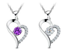 "18"" 925 Sterling Silver Amethyst Crystal Heart Pendant Necklace Chain Love P7"