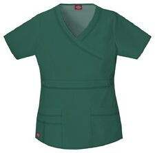 Dickies Scrubs 817355 V Neck Scrub Top Dickies GenFlex Jr Fit Hunter Green