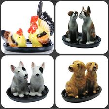 salt and pepper shakers, DOGS in various designs on a dish , ceramics A quality