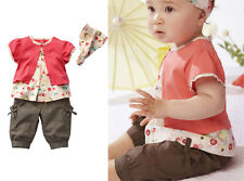 3pcs Baby Girl Kids Child Infant Clothes Outfits Red Top Pants Headband 0-36M