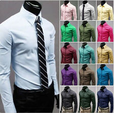 Men's Luxury Casual Formal Long Sleeve Slim Fit Stylish Dress Shirts 17 Colors