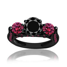 3.63 ct Black Diamond Pink Sapphire Sterling Silver Three Stone Solitaire Ring