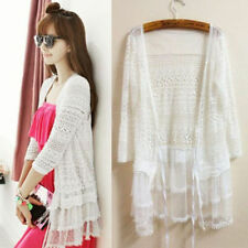 Sexy Vintage Floral Lace Crochet Peplum Shirt Loose Long Cardigan Coat Jacket