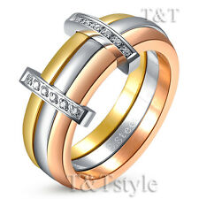 TT 7mm Tri-Tone Gold Silver Rose Gold Stainless Steel Wedding Band Ring (R267)