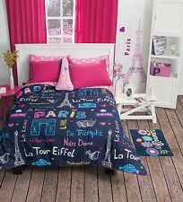 New Girls Teens Blue Pink Paris Eiffel Tower Comforter Bedding Sheet Set