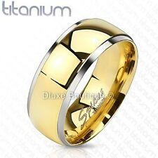 Solid Titanium 14k Gold Plated Center Comfort Fit Wedding Ring Band Size 5-13