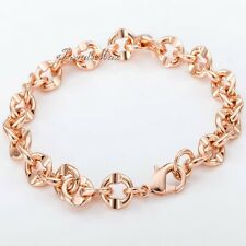 "8mm Cut Cable Link Mens Chain Boys Rose Gold Filled Bracelet CUSTOMIZED 7""-11"""