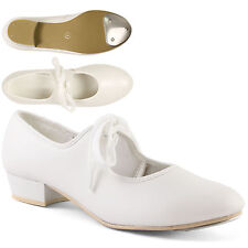 White Low Heel Synthetic Tap Shoes with Toe Taps Girls Ladies by Dance Gear LHPW