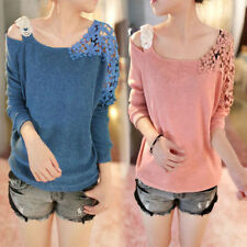 Womens Lace Floral Crochet Hollow Long Sleeve Knitwear Blouse Top Sweater Jumper