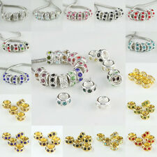 Wholesale Rhinestone Crystal Jewelry Spacer Charm Beads Fit European Bracelet