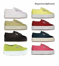 Scarpe Superga 2790 donna 36 37 38 39 40 41 Bianche Blu LINEA UP AND DOWN zeppa