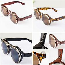 New Vintage Retro Steampunk Googles Sunglasses Round Circle Flip Up Lens Glasses