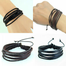 Fashion Men Women Wrap Multilayer Genuine Leather Bracelet Braided rope Jewelry