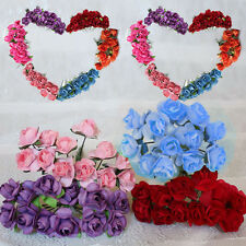 144x Mini Artificial Paper Rose Bud Flower Wedding Party Card Candy Craft Decor