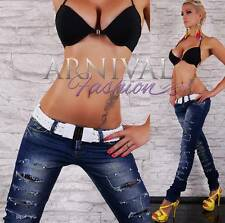 NEW SEXY LACY RIPPED SKINNY JEANS + white belt WOMENS destroyed DENIM HOT PANTS