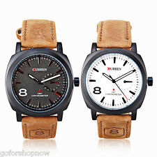 Curren Mens Womens Trapezoids Hour Marks Round Dial Leather Wrist Watch Band