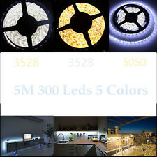 3528 5050 300 SMD 5M White 12V LED Flexible Strip Light Waterproof Tape Adapter