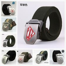 Army Style Stainless Steel Buckle Military Mens Womens Sports Web Canvas Belt
