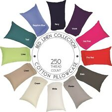 100% Cotton 250TC Percale Pillowcase - Standard, King, European, Body, V Shape