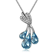 Dew on leaves Pendant Swarovski Austrian Crystal 18K Gold Plated Chain necklace