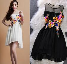 Runway Chiffon Embroidery Brand Designer Floral Dress Birthday Party Gown Summer