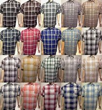 CALTOP MENS PLAID SHORT SLEEVE SHIRT FREE SHIPPING DRESS BUTTON DOWN SHIRT SM-5X
