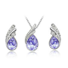 Stylish Bridal Jewellery Crystal Waterdrop Necklace And Earring Set(Nine Colour)