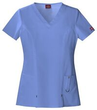 Dickies Scrubs Xtreme Stretch Scrub Top 82851 Ceil Blue Junior Fit
