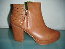 Ladies Brown High Heel Ankle Boots With Studded Detail & A Platform Sole.