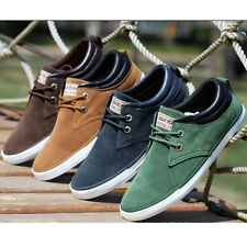 Fashion Men Casual Sneaker Matte Leather British Style Lace Up Flat Canvas Shoes