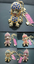 Betsey Johnson Crystal Big Golden Puppy Dog Poodle Charm Pendant Necklace B637