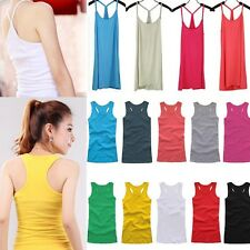 Basic Women's Solid Tank Top Racer Back Cami Vest No Sleeve T-Shirt 20 Types