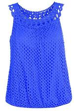 Womens Crochet Italian Vest Ladies Sleeveless Top With Lining One Size Fits 6-12