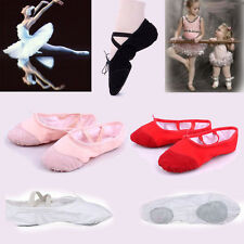 NEW CANVAS BALLET DANCE SHOES SLIPPERS Toddler-Adult Black Red Pink White 13SIZE