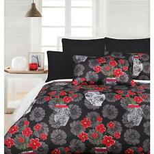 DIVINE Black Red Microfibre Quilt Doona Cover Set - SINGLE, DOUBLE, QUEEN, KING